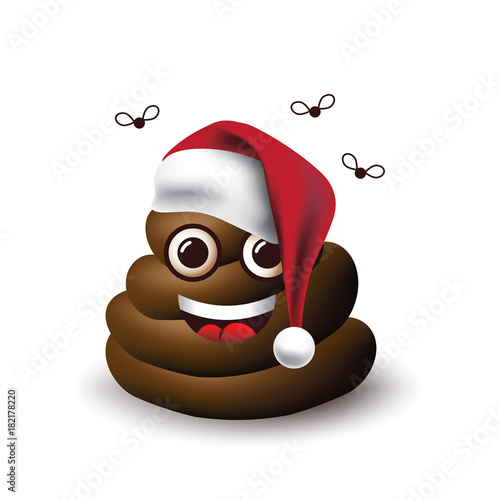 christmas poop emoticon with santa claus hat and flies eps 10 vector illustration - Christmas Poop