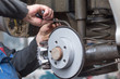 repair disc brake - hand brake, which have been replaced in the workshop or in the auto repair shop