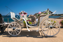 Old White Wooden Carriage Duri...