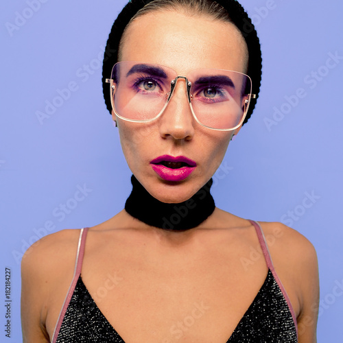 Tomboy Sexy Girl in fashionable glasses, Choker Beanie Cap. Swag Party style