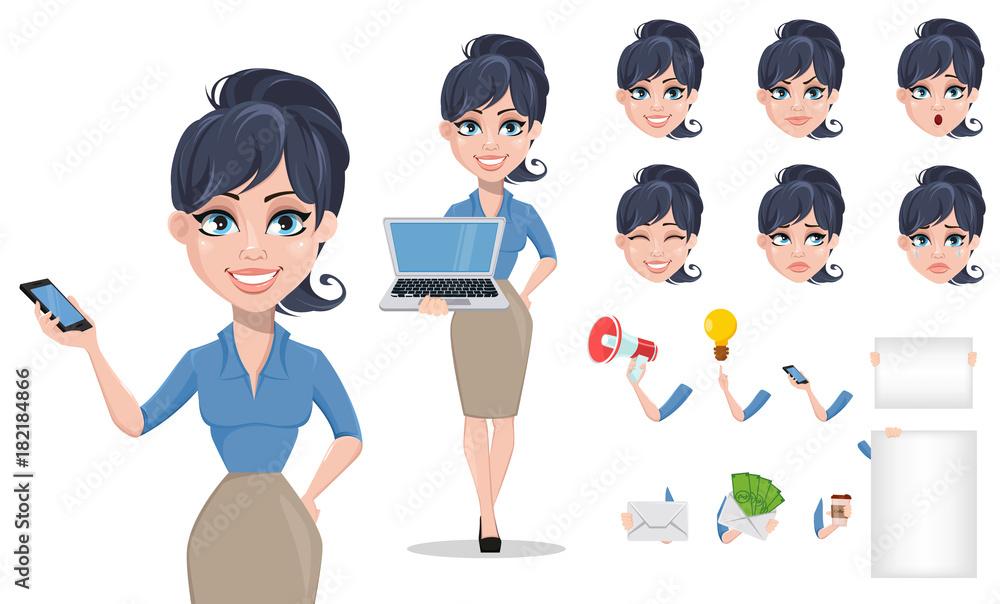 Zestaw do tworzenia postaci z kreskówek kobieta kreskówka <span>plik: #182184866 | autor: vectorkif</span>