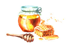 Fresh Honey With Honeycombs An...