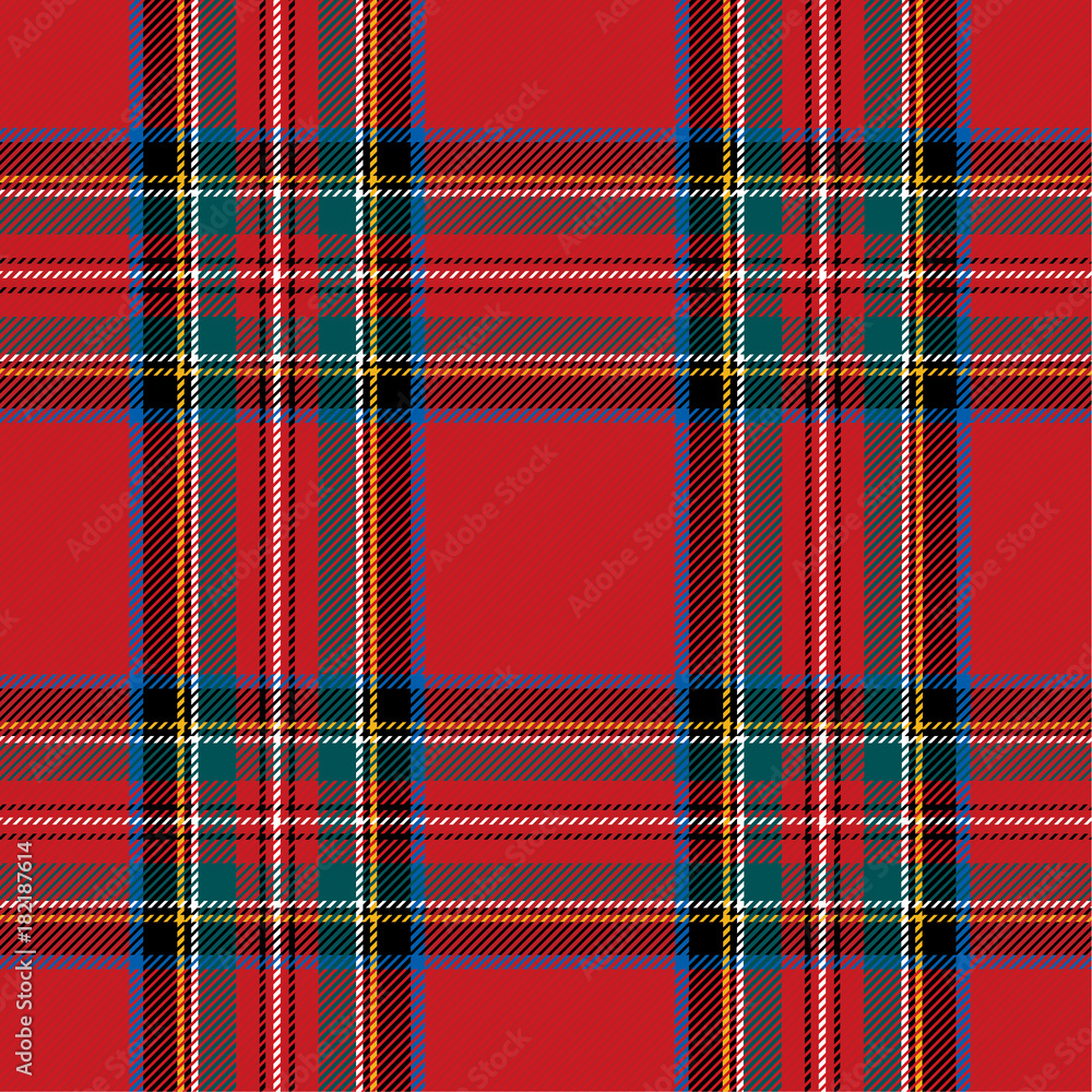 Fototapeta Checkered pattern in Scottish style. Tartan. A classic Christmas geometric pattern. Woolen red fabric.