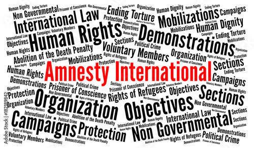 Amnesty International word cloud concept Wallpaper Mural