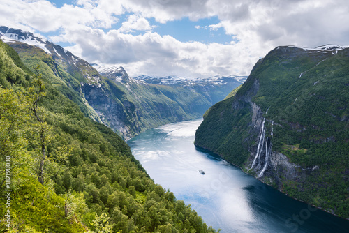 Foto auf Gartenposter Skandinavien Summer landscape with fjord and waterfall, Norway