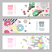 Abstract Memphis Style Horizontal Banners With Geometric Elements. Creative Hipster Modern Composition For Poster, Advertising Design. Vector Illustration
