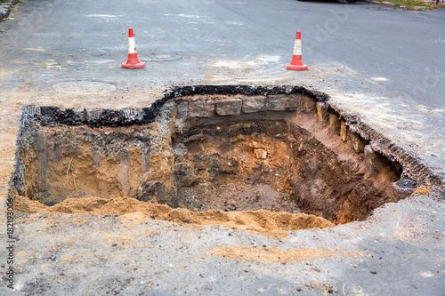 Obraz na plátně The road repair work.