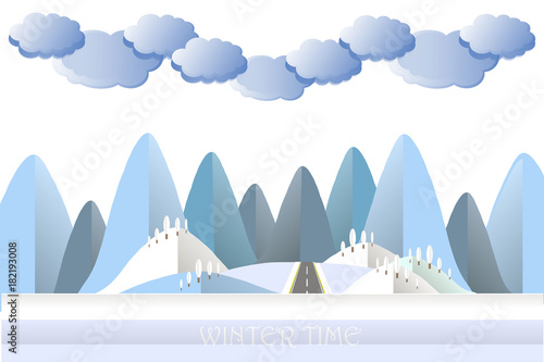 Foto op Aluminium Blauw Modern flat design blue cloud, mountain and hill in snow, tree, grey road stock vector illustration