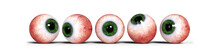 Five Realistic Human Eyes With Green Iris, Isolated On White Background