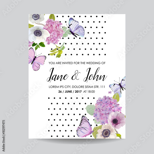 Save the date card wedding invitation template botanical card with save the date card wedding invitation template botanical card with hydrangea flowers and butterflies stopboris Choice Image