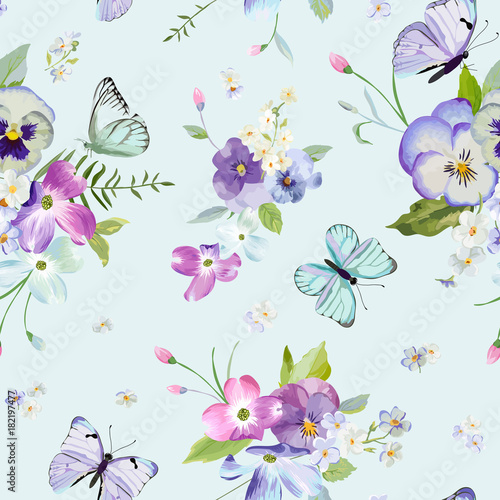 Foto op Canvas Kunstmatig Seamless Pattern with Blooming Flowers and Flying Butterflies in Watercolor Style. Beauty in Nature. Background for Fabric, Textile, Print and Invitation. Vector illustration