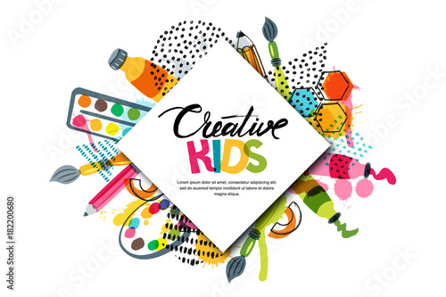 Kids art craft, education, creativity class concept. Vector horizontal banner or poster with white square paper background, hand drawn letters, pencil, brush, watercolor paints. Doodle illustration. © Betelgejze