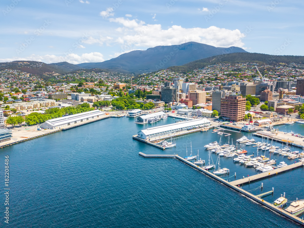 Fototapety, obrazy: An an aerial view of Constitution Dock in Hobart, Tasmania, Australia on a sunny day
