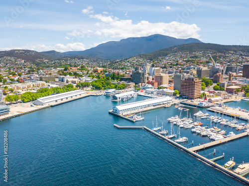 An an aerial view of Constitution Dock in Hobart, Tasmania, Australia on a sunny day