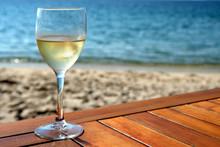 Glass Of White Wine On Mediter...