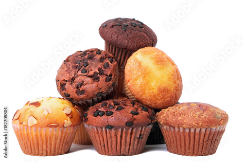 Fototapeta Pile of various muffin cup cakes