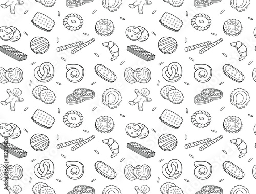 Obraz na płótnie Seamless pattern of doodle cookies and biscuit