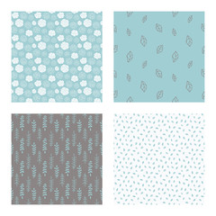 set of vector seamless floral and leaf patterns, abstract background illustrations