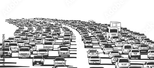 Stampa su Tela Illustration of rush hour traffic jam on freeway in black and white