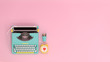 canvas print picture - typewriter clock and pen top view on the table colorful education in front of pink wall lovely picture for copy space minimal fruit and object concept pastel colorful lovely picture art