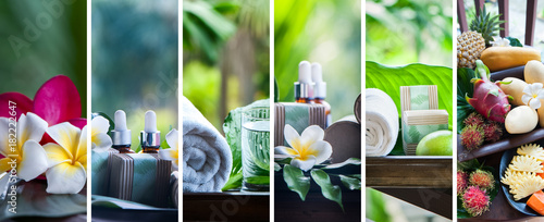 Fototapeta Organic cosmetics, natural fruit oils. Concept spa, skin care, ecological and organic natural cosmetics. Collage, set obraz