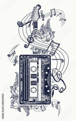 Audio Cassette Guitar Music Notes Tattoo And T Shirt Design Retro