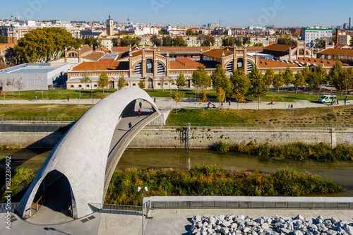 Manzanares River of Madrid as it passes through the old Slaughterhouse area, tod Canvas Print