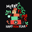 Festive song from the pile of gifts and decor from Christmas tree branches and Christmas toys. Lettering merry Christmas and happy New year for greeting cards, invitations, posters, social networking
