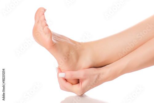Fototapeta Female feet heel massage obraz na płótnie