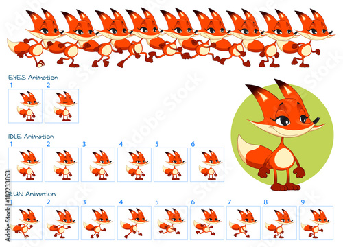 Poster Chambre d enfant Run, blinking eyes and idle animations of cartoon fox character.
