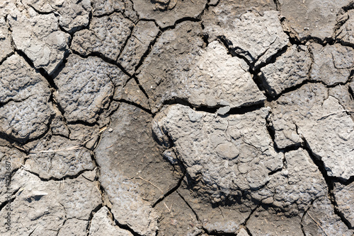 Fotografía  Top view of drought cracked soil texture