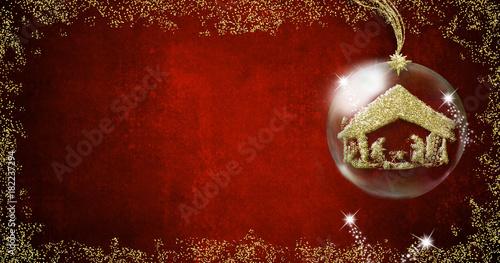 Fotografie, Obraz  Nativity Scene Christmas backgrounds cards.