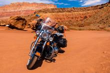 Motorrad Im Roten Wüsten Sand