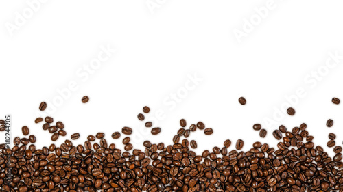 Wall Murals Cafe The overlay of coffee beans, isolated with clipping path on white background with shadow