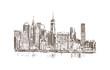Hand drawn sketch of New York City skyline in vector illustration.