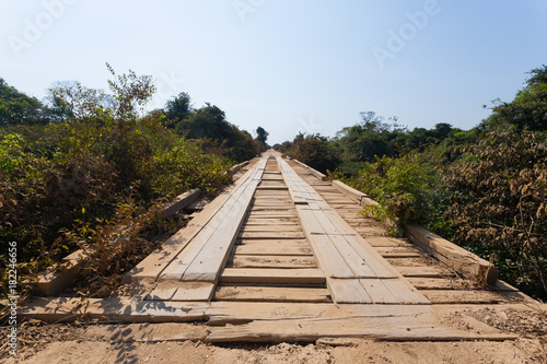 Wooden bridge along Transpantaneira road, Brazil Fototapeta