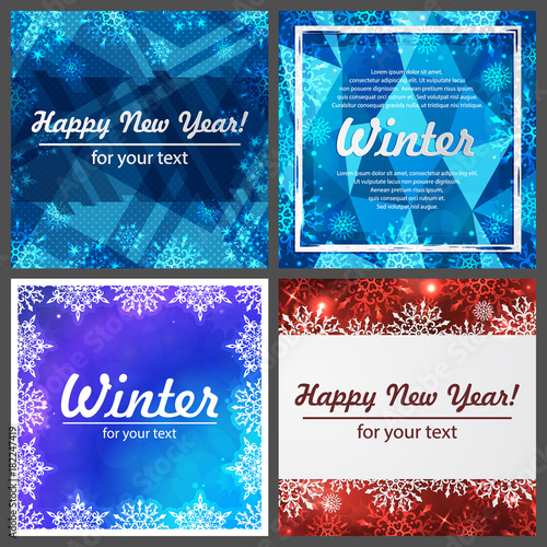 set of four winter backgrounds winter frame with snowflakes christmas greeting card new