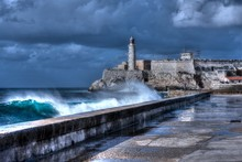 Cuba, Havana. Waves Breaking O...