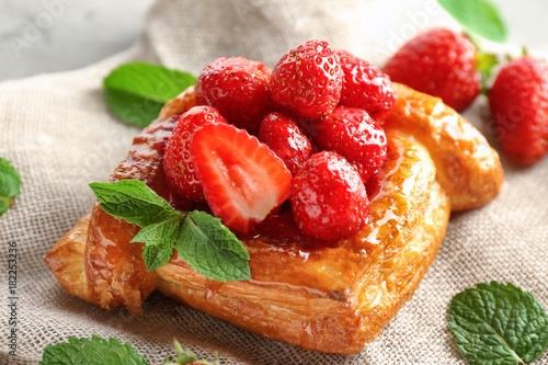 Delicious pastry on sackcloth
