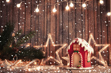 Lights And Gingerbread House