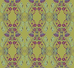 Seamless pattern witn mustard background.