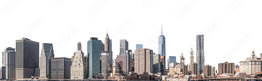 Fototapety, obrazy: One World Trade Center and skyscraper, high-rise building in Lower Manhattan, New York City, isolated white background with clipping path