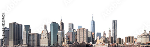 Poster Batiment Urbain One World Trade Center and skyscraper, high-rise building in Lower Manhattan, New York City, isolated white background with clipping path