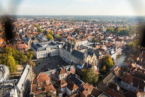 Recess Fitting Deep brown Brugge, Belgium - November, 2017. Aerial Brugge medieval historic city. Brugge streets and historic center, canals and buildings. Brugge popular touristic destination of Belgium.