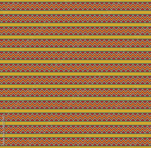 cute christmas or new year template with red green and yellow zig zag striped pattern