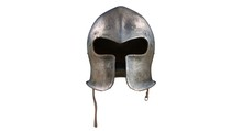 3D Rendering - Medieval Historical Armor Helmet Isolated On A White Background.