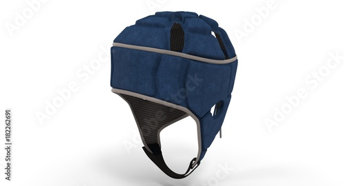 Photo 3D rendering - blue rugby headgear isolated on a white background