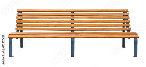 Fotografía Long wooden bench isolated on a white background
