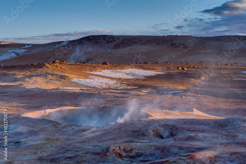 Printed kitchen splashbacks Cappuccino Sunrise at Sol de Manana Geothermal Active area Altiplano Bolivi
