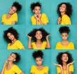 Female different emotions set